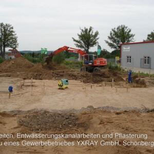 Erdarbeiten, Entwässerung und Pflasterung YXRAY GmbH, Schönberg (MV)