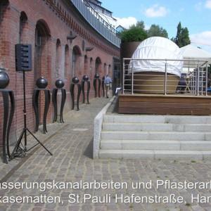 Entwässerung und Pflasterarbeiten, Riverkasematten Hamburg